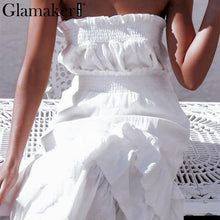 Load image into Gallery viewer, Sexy two-piece white strapless split dress Women ruffle sleeveless long dress Female elegant beach party dress Vestidos