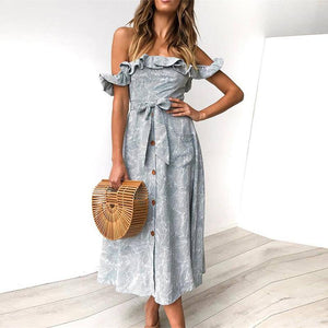 Summer Beach Dress Women Casual Elegant Casual Party Dresses Ruffles Off Shoulder Bow Vintage Long Dress Vestidos