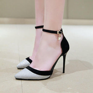 women spring new fashion sexy sequined cloth super high thin heels party women pumps outside shallow buckle shoes