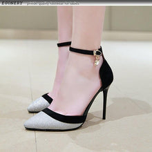 Load image into Gallery viewer, women spring new fashion sexy sequined cloth super high thin heels party women pumps outside shallow buckle shoes