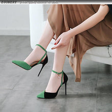 Load image into Gallery viewer, shoes woman 2019 spring new fashion sexy pointed toe flock party women pumps outside super high thin heels shallow shoes