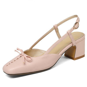 convenient women fashion mary janes thick heels pumps square toe comfortable elegant butterfly-knot solid summer shoes