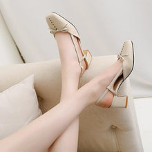 Load image into Gallery viewer, convenient women fashion mary janes thick heels pumps square toe comfortable elegant butterfly-knot solid summer shoes