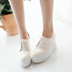 appointment height increasing lace-up thick platform concise woman shoes college female single shoes large size 32-43 - moonaro