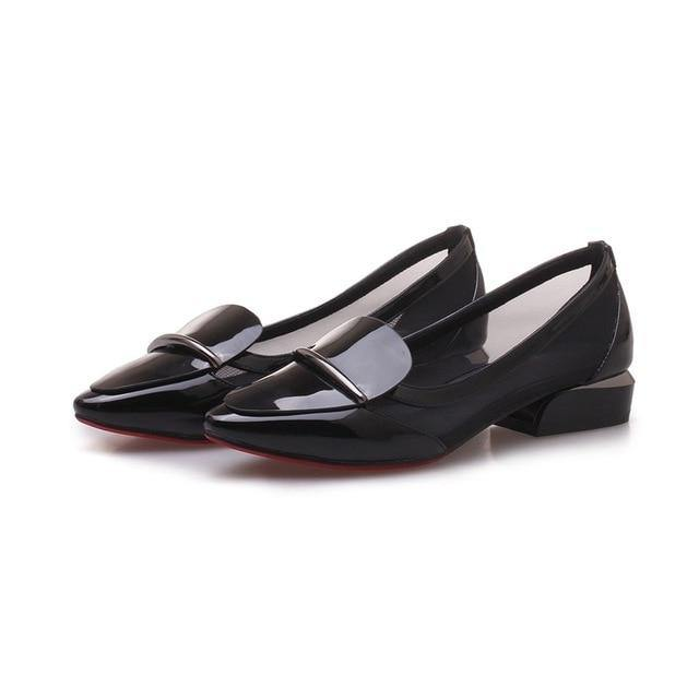 women shoes newest pointed toe patent leather and mesh metal decoration low square heel outside black and red lady pumps