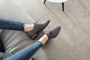 low heels leisure lady pointed toe lace up spring career concise solid fashion women shoes large size 34-43
