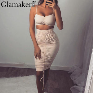 Ruffle off shoulder two-piece suit dress Women elegant high waist bodycon sundress Female sexy summer club dress