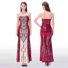 Load image into Gallery viewer, Women's New Strapless Splicing Evening Dresses Contrast Color Gatsby Dresses Wine Red