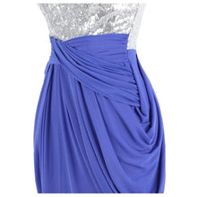 Load image into Gallery viewer, Women's Strapless Sequin Ruched Pleated Slit Peplum Long Evening Dresses Blue