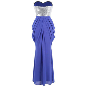 Women's Strapless Sequin Ruched Pleated Slit Peplum Long Evening Dresses Blue - moonaro