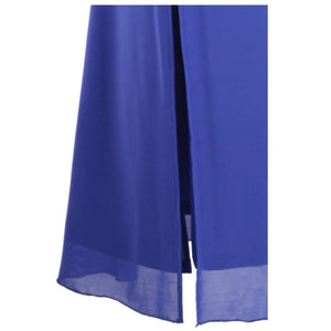 Women's Strapless Sequin Ruched Pleated Slit Peplum Long Evening Dresses Blue