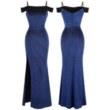 Load image into Gallery viewer, Women's Boat Neck Pleated Split Mermaid Long Evening Dress Blue