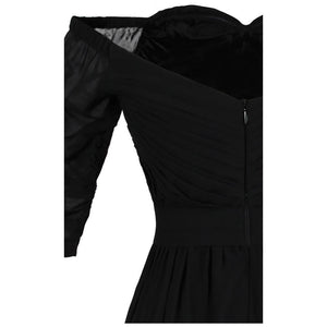Women's Black Chiffon Pleat Evening Dresses Boat Neck Half Sleeve Halloween Party Gown