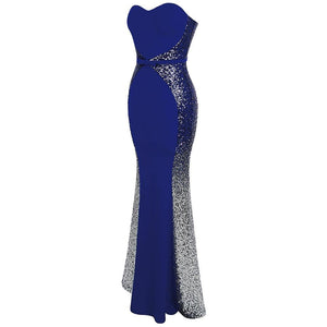 New Prom Dresses Gradient Sequin  robe de soiree abendkleider Splicing Dress Blue