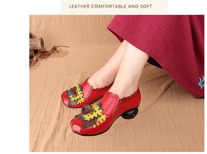 Spring 2019 Retro Handmade Floral Women Shoes Pumps Genuine Leather Chunky Heels Round Toe High Heels Sandals