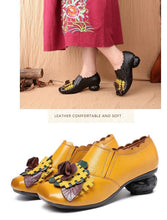 Load image into Gallery viewer, Spring 2019 Retro Handmade Floral Women Shoes Pumps Genuine Leather Chunky Heels Round Toe High Heels Sandals