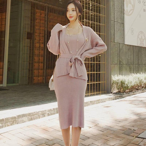 Spring Two Pieces Knitted Set Cardigans and Dress Women Bandage Open Stitch Sweater Bodycon Sleeveless Dresses Women Suits