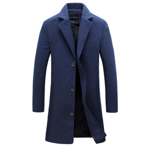 Men Solid Color Single Breasted Long Trench Coat  Men Casual Slim Long Woolen Cloth Coat