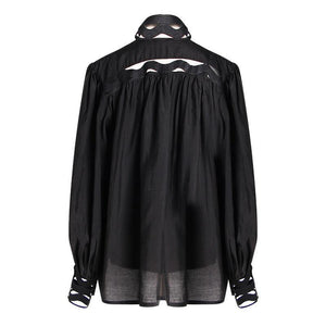 2019 Spring fashion office lady hollow out loose long sleeve white black shirt women's tops and blouses vintage streetwear - moonaro