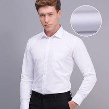 Load image into Gallery viewer, Men's Long Sleeve Slim Fit Solid Spread Collar Dress Shirt White Formal Business Basic Design Work Office Shirts (Without Tie)