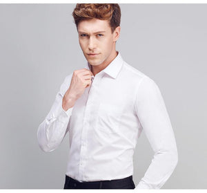 Men's Long Sleeve Slim Fit Solid Spread Collar Dress Shirt White Formal Business Basic Design Work Office Shirts (Without Tie)