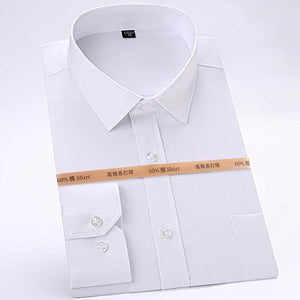 Men's Standard-Fit Long Sleeve Easy Care Shirt Patch Chest Pocket Rounded Single-button Cuffs Formal Solid Basic Dress Shirts