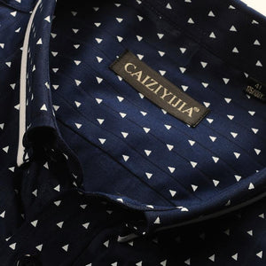 Men's Polka Dot/Triangle Print Dress Shirt Smart Casual Slim-fit Long Sleeve Cotton Contrast Colors Patchwork Button-down Shirt - moonaro