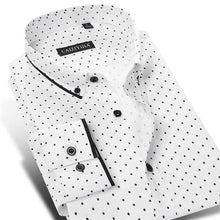 Load image into Gallery viewer, Men's Polka Dot/Triangle Print Dress Shirt Smart Casual Slim-fit Long Sleeve Cotton Contrast Colors Patchwork Button-down Shirt