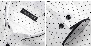Men's Polka Dot/Triangle Print Dress Shirt Smart Casual Slim-fit Long Sleeve Cotton Contrast Colors Patchwork Button-down Shirt