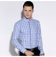 Load image into Gallery viewer, Men's Premium Modal-Blend Dress Shirt with Bold Plaid Pattern Comfortable Long Sleeve Tops Male Smart Casual Button-down Shirts