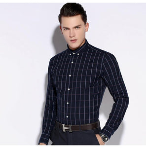 Men's Premium Modal-Blend Dress Shirt with Bold Plaid Pattern Comfortable Long Sleeve Tops Male Smart Casual Button-down Shirts