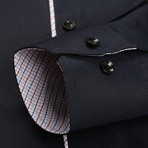 Men's Regular-fit Twill Turn-down Collar Dress Shirt Patch Chest Pocket Smart Casual Long Sleeve Contrast Color Piping Shirts