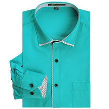 Load image into Gallery viewer, Men's Regular-fit Twill Turn-down Collar Dress Shirt Patch Chest Pocket Smart Casual Long Sleeve Contrast Color Piping Shirts