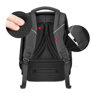 "Male Fashion Travel Backpack Large Capacity Multifunction Rucksack with USB Charger 15.6"" Laptop Backpack Black"