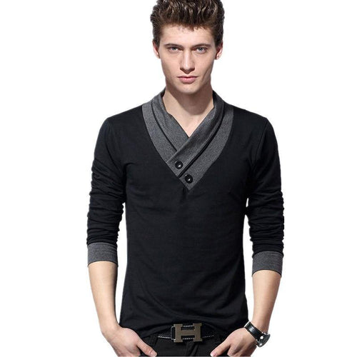 Men's T Shirts Spring Long Sleeve T Shirts Men Black Button Stand Collar Fitness Slim Fit Tshirt Plus Size 5XL