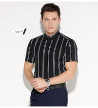Load image into Gallery viewer, Men's Contrast Double Striped Short Sleeve Dress Shirt Comfortable Cotton Stylish Casual Standard-fit Button Down Thin Shirts