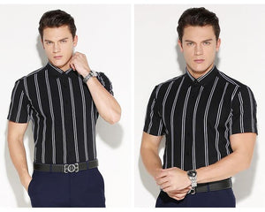 Men's Contrast Double Striped Short Sleeve Dress Shirt Comfortable Cotton Stylish Casual Standard-fit Button Down Thin Shirts