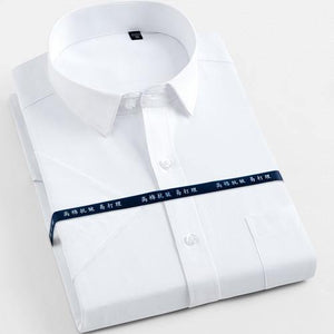 Men's Short Sleeve Solid Basic Dress Shirts Regular Fit Comfortable Soft Twill Work Office Formal Business Social Tops Shirt