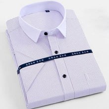 Load image into Gallery viewer, Men's Short Sleeve Solid Basic Dress Shirts Regular Fit Comfortable Soft Twill Work Office Formal Business Social Tops Shirt