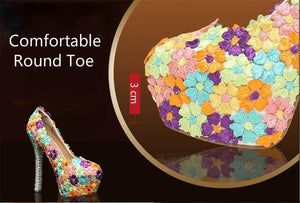 Women Shoes and Bags to Matching Crystal Platform Bride Shoe Floral Lace Purse High Heels Genuine Leather Big Size