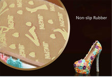 Load image into Gallery viewer, Women Shoes and Bags to Matching Crystal Platform Bride Shoe Floral Lace Purse High Heels Genuine Leather Big Size