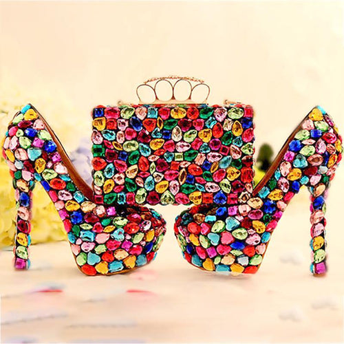 Wedding Women Shoes and Bags to Matching Crystal Purse Wedding Colorful Platform Bridal Shoes High Heels Genuine Leather Big Size - moonaro