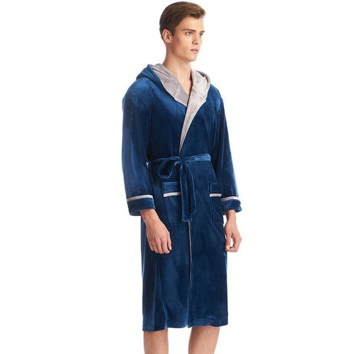 Gentlemen High Grade Sleepwear Lounges Velvet Hooded Robe Gown