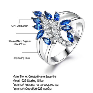 Genuine 925 Sterling Silver Ring Gemstone Blue Sapphire Rings for Women Cocktail Flowers Trendy Romantic Gift Fine Jewelry