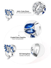 Load image into Gallery viewer, Genuine 925 Sterling Silver Ring Gemstone Blue Sapphire Rings for Women Cocktail Flowers Trendy Romantic Gift Fine Jewelry