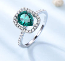 Load image into Gallery viewer, Solid 925 Sterling Silver Rings for Women Water Drop Green Emerald Gemstone Ring Birthstone Wedding Band Romantic Jewelry