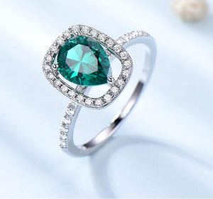 Solid 925 Sterling Silver Rings for Women Water Drop Green Emerald Gemstone Ring Birthstone Wedding Band Romantic Jewelry