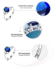 Load image into Gallery viewer, Blue Sapphire Gemstone Rings for Women Genuine 925 Sterling Silver Birthstone Promise Ring Bridal Anniversary Gift for Her - moonaro