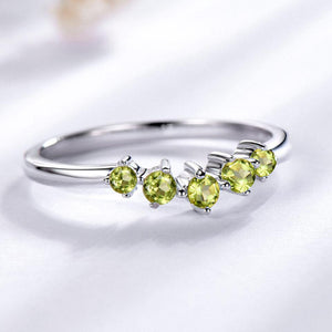 Genuine Natural Peridot Ring Solid 925 Sterling Silver Rings For Women Engagement Wedding Band Gift Fine Jewelry Fashion