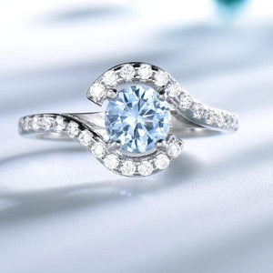 Real 925 Sterling Silver Rings For Women Classic Round Created Sky Blue Topaz Gemstone Wedding jewelry - moonaro